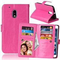 Slots9 PU kožené peňaženkové puzdro pre Lenovo Moto G4 Play - rose