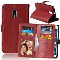 Slots9 PU kožené peňaženkové puzdro pre Lenovo Moto G4 Play - hnedé