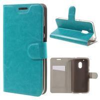 Horse PU kožené puzdro pre mobil Lenovo Moto G4 Play - modrý