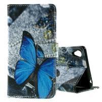 PU kožené peňaženkové puzdro na Lenovo S850 -  modrý motýľ