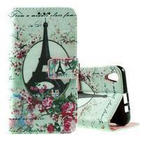 PU kožené peňaženkové puzdro na Lenovo S850 - Eiffelova veža