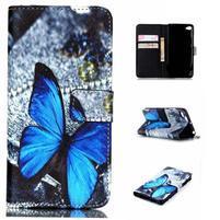Style peňaženkové puzdro pre mobil Lenovo S90 - modrý motýľ