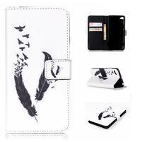 Style peňaženkové puzdro pre mobil Lenovo S90 - vtačie pierka