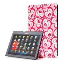Polohovatelné puzdro pre tablet Lenovo Tab 2 A10-70 - srdca