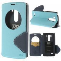 Diary puzdro s okienkom na mobil LG G3 - svetlomodré