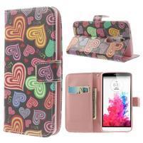 Ultra motive peňaženkové puzdro pre LG G3 - farebná srdiečka
