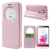 Roar peňaženkové puzdro s okienkom na LG G3 - ružové