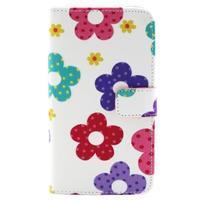 Obrázkové koženkové puzdro pre mobil LG G3 - maľované kvetiny