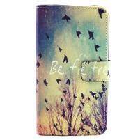 Obrázkové koženkové puzdro pre mobil LG G3 - lietajúce vtáčiky