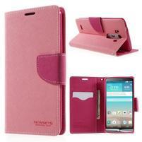 Cross PU kožené puzdro pre LG G3 - ružové