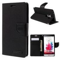 Canvas PU kožené/textilní pouzdro na LG G3 - černé