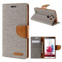 Canvas PU kožené/textilné puzdro pre LG G3 - sivé