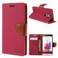 Canvas PU kožené/textilné puzdro pre LG G3 - rose