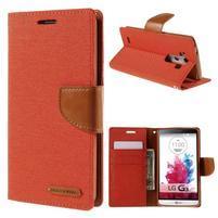 Canvas PU kožené/textilné puzdro pre LG G3 - oranžové
