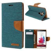 Canvas PU kožené/textilné puzdro pre LG G3 - zelené
