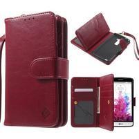 Patrové peňaženkové puzdro pre mobil LG G3 - vínove červené