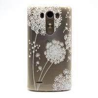 Priehľadný gélový obal pre LG G3 - biela púpava