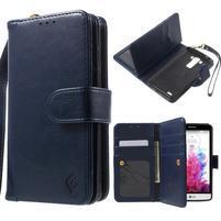 Patrové peňaženkové puzdro pre mobil LG G3 - tmavomodré