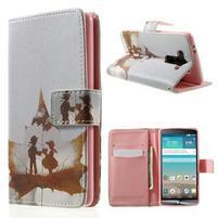 Zapínací peňaženkové puzdro pre LG G3 s - láska