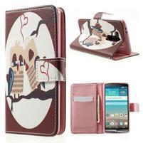 Zapínací peňaženkové puzdro pre LG G3 s - zamilovaní ptáčci