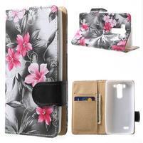 Elegantné lilie peňaženkové puzdro na LG G3 s - čierné