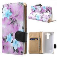 Elegantné lilie peňaženkové puzdro na LG G3 s - fialové