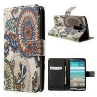 Zapínací peňaženkové puzdro pre LG G3 s - květina mandala