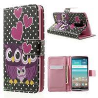 Zapínacie peňaženkové puzdro pre LG G3 s - soví rodinka