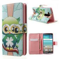 Zapínací peňaženkové puzdro pre LG G3 s - ptáček