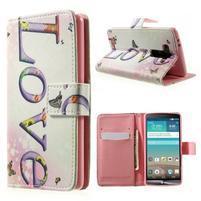 Zapínací peňaženkové puzdro pre LG G3 s - love