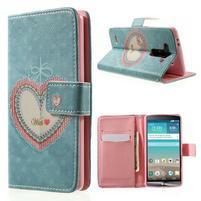Zapínací peňaženkové puzdro pre LG G3 s - srdce
