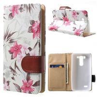 Elegantné lilie peňaženkové puzdro na LG G3 s - biele