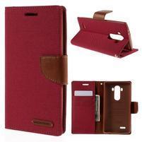 Canvas PU kožené/textilní pouzdro na mobil LG G4 - červené