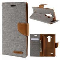 Canvas PU kožené/textilní pouzdro na mobil LG G4 - šedé