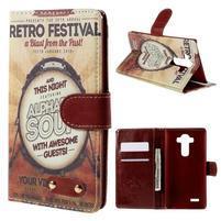 Koženkové puzdro pre mobil LG G4 - retro festival