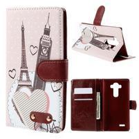Koženkové puzdro pre mobil LG G4 - Eiffelka a Big Ben