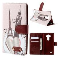 Koženkové pouzdro na mobil LG G4 - Eiffelka a Big Ben