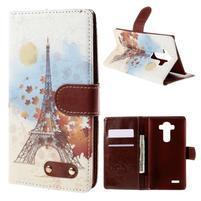 Koženkové puzdro pre mobil LG G4 - Eiffelova veža
