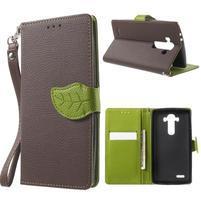 Leaf peňaženkové puzdro pre mobil LG G4 - hnedé