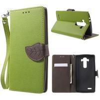 Leaf peňaženkové puzdro pre mobil LG G4 - zelené