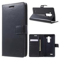 Luxury PU kožené puzdro pre mobil LG G4 - tmavomodré