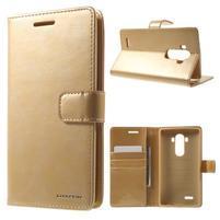 Luxury PU kožené puzdro pre mobil LG G4 - zlaté