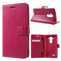 Luxury PU kožené puzdro pre mobil LG G4 - rose