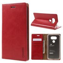 Luxury PU kožené puzdro pre mobil LG G5 - červené
