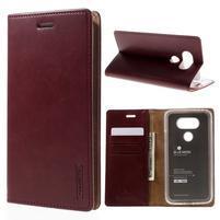 Luxury PU kožené puzdro pre mobil LG G5 - vínove červené
