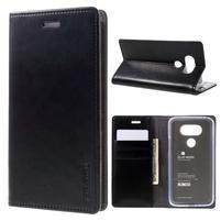 Luxury PU kožené puzdro pre mobil LG G5 - čierne