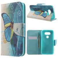 Wall peňaženkové puzdro pre LG G5 - motýľ