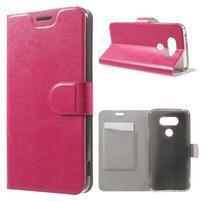 Horse PU kožené peňaženkové puzdro pre LG G5 - rose