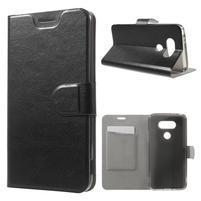 Horse PU kožené peňaženkové puzdro pre LG G5 - čierne