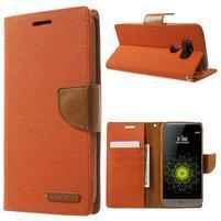 Canvas PU kožené/textilné puzdro pre LG G5 - oranžové